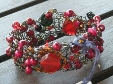 Red Black Wire Crochet Cuff