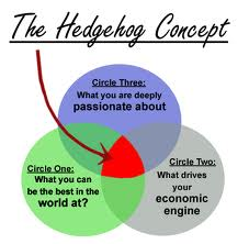 "the hedgehog theory venn diagram, taken from the book ""Good to Great"""